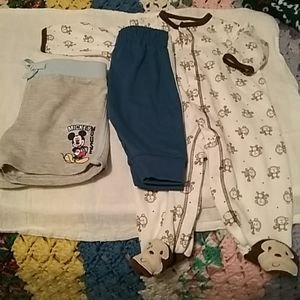 Shorts, pants and a sleeper EUC. Size 0-3 months